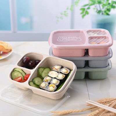 AL_ 3 Compartments Lunch Box Food Storage Container for Kids Adults Picnic Relia