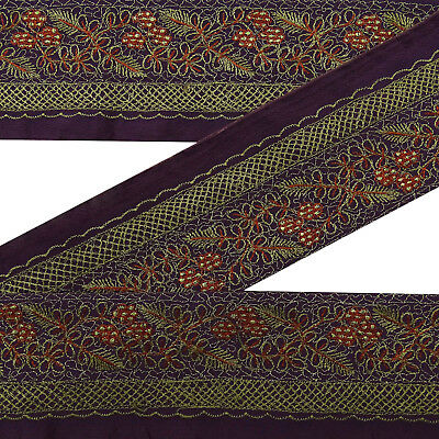 Vintage Embroidered Sari Purple Border Indian Antique Ribbon Sewing 1Yd Lace.