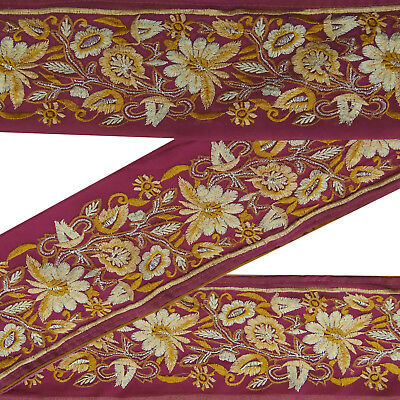 Indian Vintage Embroidered Sari Border Purple Antique Ribbon Sewing Lace 1Yd.
