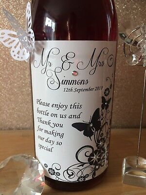 Personalised Butterfly Wedding Table Wine Bottle Label / Favour / Gift / Thank