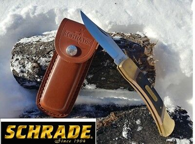 """8.6"""" SCHRADE Old Timer Folding Pocket Knife 70T With Leather Sheath BRAND NEW"""