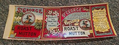 ST. GEORGE ROAST MUTTON tin can label 1890s Dunedin New Zealand St. George OLD