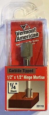 "Vermont American 23110 1/2"" x 1/2""-1/4"" Shank Hinge Mortise Carbide Router Bit"