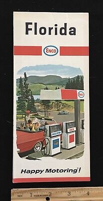 Florida Highway Map.1967 Enco Florida Highway Map Happy Motoring Guide Humble Oil