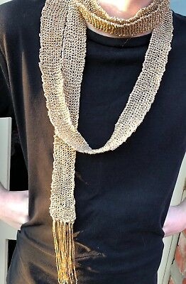Knitted Vintage Gold Metallic Yarn Scarf