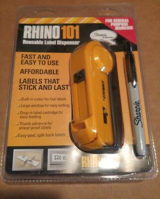 DYMO RHINO 101 Reusable Label Dispenser 1734522 + Black Sanford Sharpie (NIP)