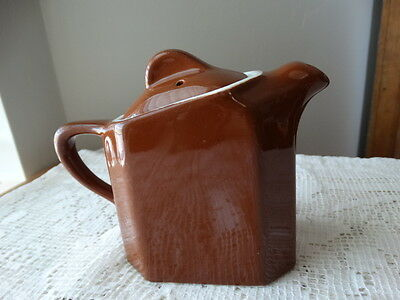 Vintage Dark Brown Hall for Two Slant Lid Teapot Free Shipping