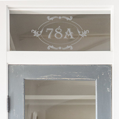 Frosted Door Number Fanlight Victorian House Number Etched Glass House Number