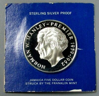 1973 SILVER JAMAICA $5 PROOF PREMIER NORMAN W. MANLEY 1.33oz COIN