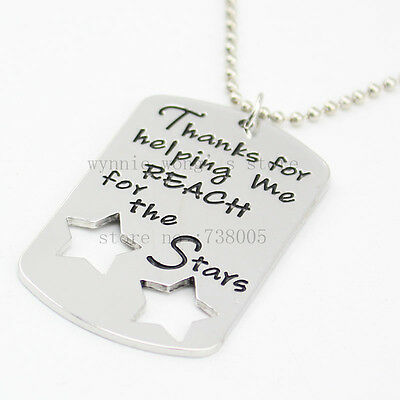 Teacher Necklace Thanks for Reach for the Stars leaving gift present Engraved