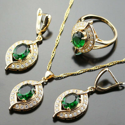 Gold Dipped Emerald Eye Topaz Necklace Earrings set Ring Size 7 M Drop Jewellery