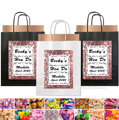 Hen Party Bag Copper/Rose Gold Glitter Effect Personalised Black Gift Idea