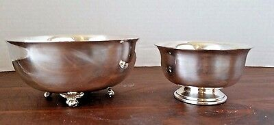 Vintage Silverplate Footed Bowls Wallace Paul Revere Lion Claw  637