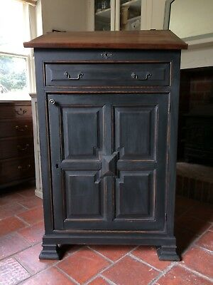 Antique Victorian Painted Black Pitch Pine Vestry Cupboard Bureau Lecturn