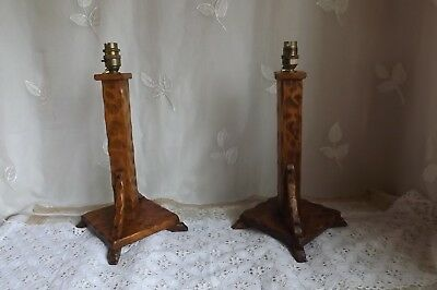 Vtg Pair Of Carved Wood Handmade Bedside/table Lamps Deco/arts & Crafts Design