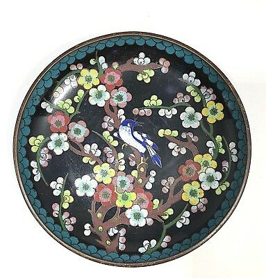"Vintage Cloisonne Copper Enameled Plate, Floral w Blue Bird, 6"", Dark Background"