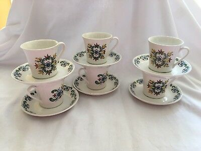 Figgjo Flint Norway 6 CUPS SAUCERS Vintage Hippy Flower Power
