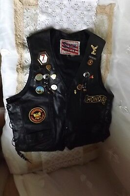 Vintage Leather Waistcoat With Badges Biker Gold Wing Slick Cycle Size M
