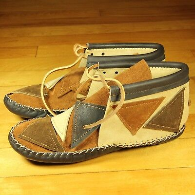 VTG NEW Womens Oglala Sioux Chaparral Moccasins Leather Native American SZ 5.5