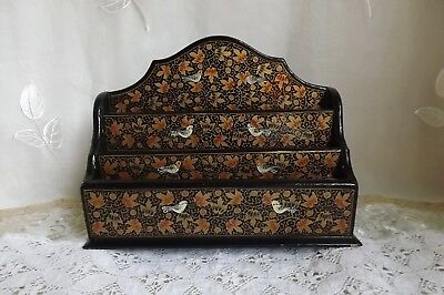 Vintage Chinese Lacquered Letter Rack With Beautiful Birds & Gold Leafy Design