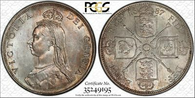 1887 Florin Jub Head Great Britain Silver Coin Certified PCGS MS63 Gold Holder