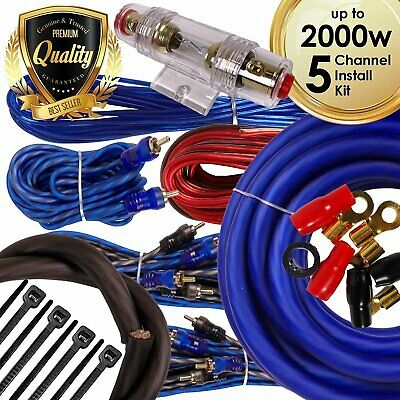 Complete 5 Channels 2000W 4 Gauge Amplifier Installation Wiring Kit Amp PK1 Blue