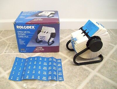 """Vintage Rolodex 1024x OpenRotary Card File – 1,000 2.25""""x4"""" Cards – In Box"""