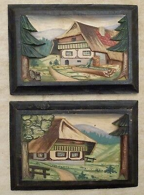 SET of Black Forest Germany Art Carved Wooden Picture Painted House Woods 3D