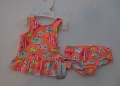 Carter's Baby Girls Melon Color 2 Piece Tankini Size 12 Months New Nwt Upf 50+