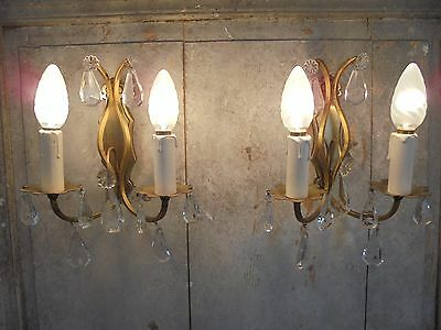 French a pair of charming antique  wall light bronze brass crystals pretty