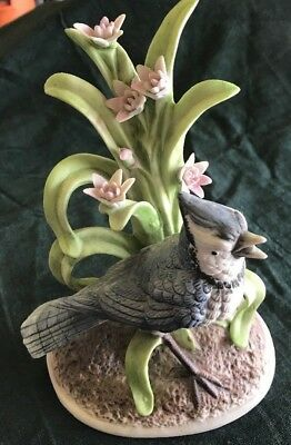 "Rare Signed J Byron-Blue Jay Porcelain Figurine -7"" H,Royal Crown, ships free"