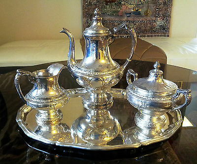Gorham French Louis XV style 3 piece sterling silver set with a large Tray 103OZ