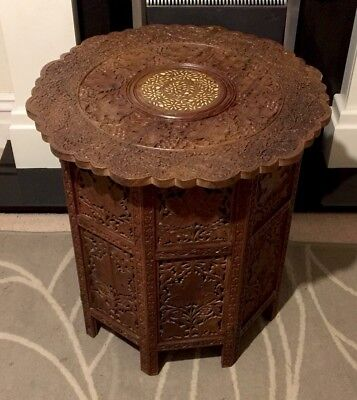 Antique  Indian Large Late19th Century Carved Rosewood Table 24 Inches(61cm)