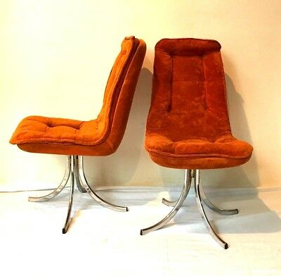 5 chaises fauteuils VINTAGE RETRO velours orange 70' Seventies