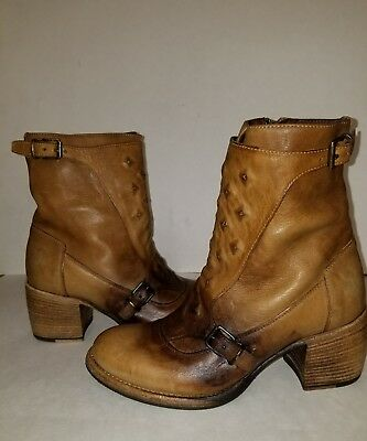 Patricia Nash Tuscany Distressed Leather Embedded Stud Buckle Ankle Boot / Shoe