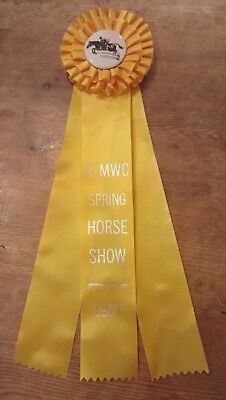 Vintage R-Mwc Spring Horse Show 1971 Yellow Horse Show Ribbon