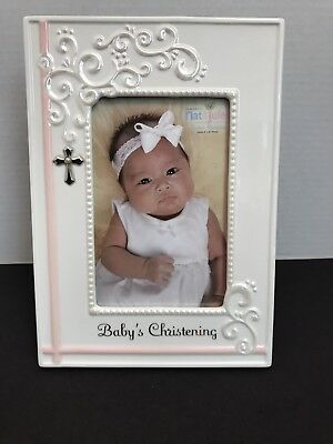 Nat & Jules Baby's Christening Frame White with Pink Accents