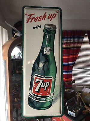 1962 Fresh Up With Seven 7 Up Soda Tin Sign Embossed