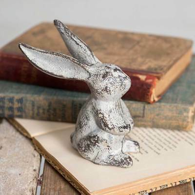 Primitive Cast Iron Silver Grey Rustic Seated Long Eared Bunny Home Decor