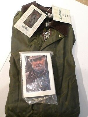 Barbour- A200 Border Waxed Cotton Jacket- Sage-Made@ Uk- New Old Stock-Size 34