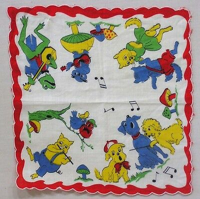 Vintage Children's Hankie Anthro Frogs Owls Dogs Cats Playing Instruments BRIGHT