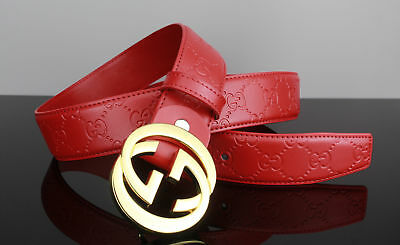NEW GUCCI-Men/Women's Leather Belt in Red 110CM: 31-34 inch Waists #6