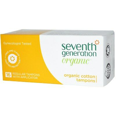 Seventh Generation, Organic Cotton Tampons, Regular, 16 Tampons w/ Applicator