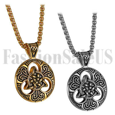 Vintage Men's Stainless Steel Celtic Irish Knot Pendant Necklace Chain Jewelry