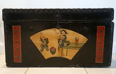 Chinese Antique Trunk - Original Metal Work and painted front-medium