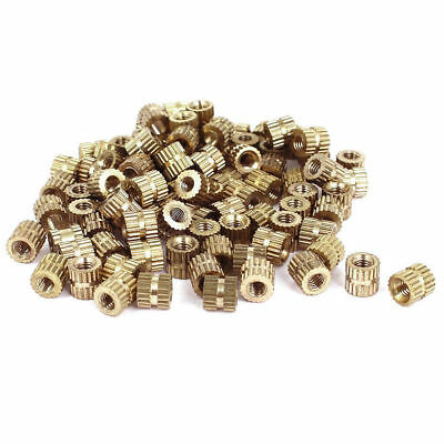 M2 / M3 Brass Cylinder Knurled Threaded Round Insert Embedded Nuts 100PCS
