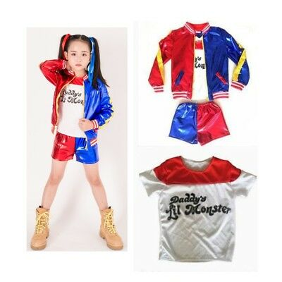 Kids Suicide Squad Harley Quinn Christmas Cosplay Coat+T-shirt+Shorts Set Suit