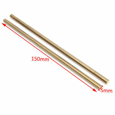 "2 PCS Brass Solid Round Rod 150mm/6"" long 5mm Lathe Bar Stock"