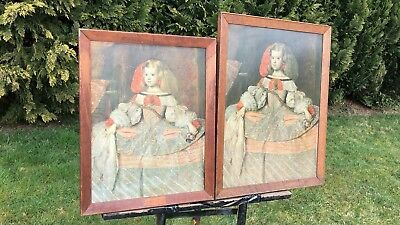 Antique Vintage A Pair of Framed Victorian Pictures