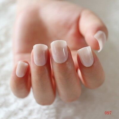 24 square Fake Nails False Natural French Nail Extensions Manicure Stick on Nail